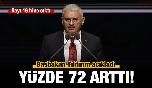 Başbakan Yıldırım: Yüzde 72 arttı!