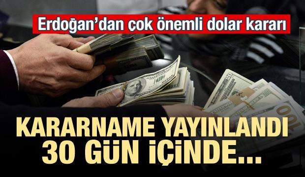 Erdoğan'dan flaş döviz kararı! 30 gün içinde...