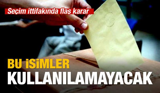 Seçim ittifakına isim sınırlaması
