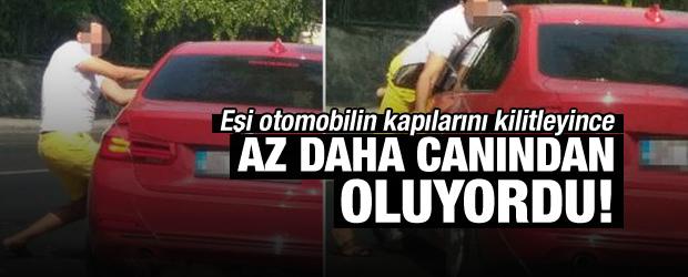 Sinirlenen Eş Otomobilin Kapılarını Kilitleyip Gaza Bastı!
