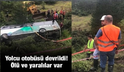 Bursa'da Yolcu Otobüsü Devrildi! Ölü Ve Yaralılar Var!