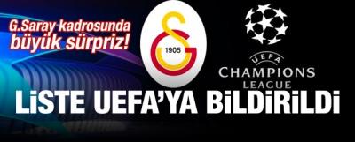 G.Saray kadrosunda büyük sürpriz! Liste UEFA'da