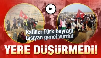 İsrail askerleri Türk bayrağı sallayan Filistinli genci vurdu