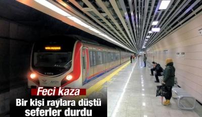 Marmaray'da bir kişi raylara düştü, seferler durdu