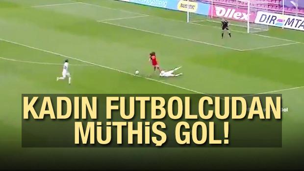 Kadın Futbolcudan Müthiş Gol!