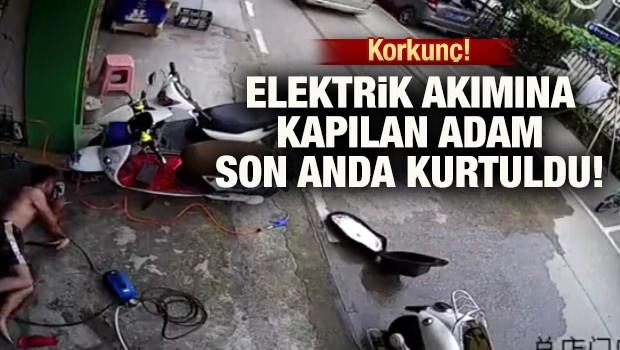 Elektrik akımına kapılan adam son anda kurtuldu!