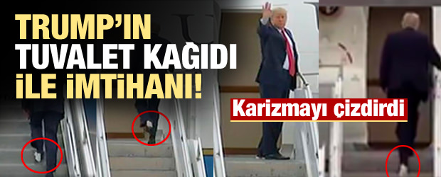 Trump, uçağa ayağına yapışan 'tuvalet kağıdı' ile bindi
