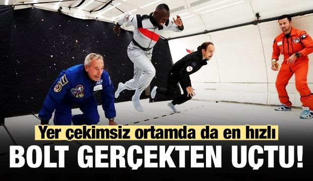 Bolt gerçekten uçtu! Yer çekimsiz ortamda da en hızlı