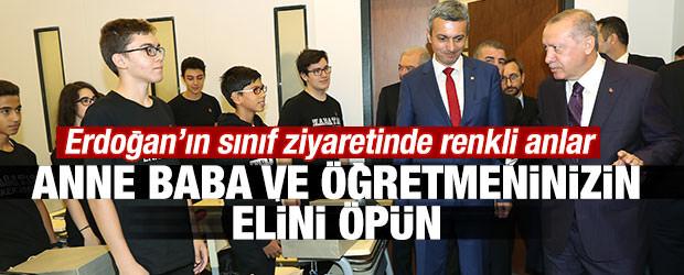 Başkan Erdoğan'dan öğrencilere el öpme tavsiyesi
